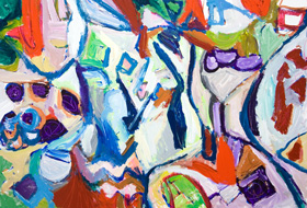 Family Chat : colorful abstract interior, abstract expressionism, abstract still life, abstract group figurative, whimsical, cheerful, abstract random element, acrylic painting #5326, 2006 | Kazuya Akimoto Art Museum