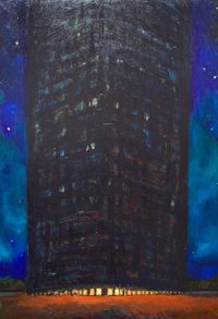 architectural symbolism, night, cityscape, building, starry, stars, astronomical, luminous, landmark, architectural expressionism, acrylic painting #5423, 2006 | Kazuya Akimoto Art Museum