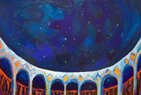 astronomy, astronomical, symbolic, expressionism, natural night sky scene, night, starry night scene, night view, night sky acrylic outdoor night painting #5461, 2006 | Kazuya Akimoto Art Museum
