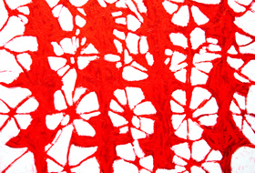 lyrical abstraction, tachisme, red, stain, blot, abstract decorative, ornamental pattern, patterns, abstract expressionism, red cross stitches, repetition, allover, acrylic painting#5492, 2006 | Kazuya Akimoto Art Museum