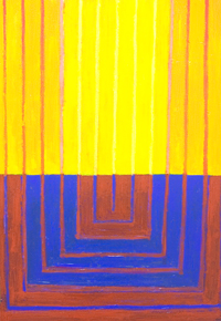 The Abstract New Altar : abstract religious, architectural symbolism, light symbolism, geometric expressionism, blue, yellow, red,  complementary color pattern, abstract line pattern, sacred, holy, geometric symbolism, contemporary religious abstract, acrylic painting #5635, 2006 | Kazuya Akimoto Art Museum