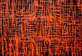 Abstract Red Meshes  : abstract red, abstract vertical and horizontal red line pattern painting, abstract red net, grid, meshes pattern, abstract red grid pattern, black and red pattern, red color symbolism, rough, uneven thick line pattern,  red pattern symbolism, acrylic painting #5700, 2006 | Kazuya Akimoto Art Museum