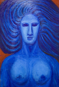 blue  symbolism, figurative woman , female bust, mythological roman goddess, portrait, complementary color painting #6347, 2007 | Kazuya Akimoto Art Museum — Venus, Aphrodite, love, blue, symbolism, symbolic, woman, female,   body, bust, roman, greek mythology, portrait, complementary colors, blue, red, painting 2007