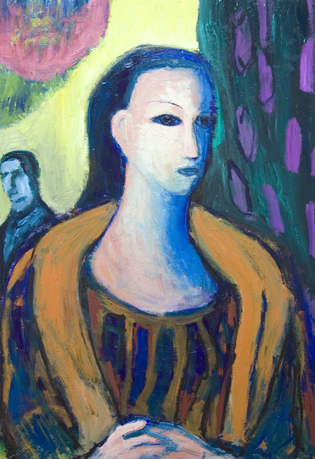 narrative, figurative, female life, night scene, acrylic painting #6353, 2007 | Kazuya Akimoto Art Museum – narrative, figurative, female figure, people, woman, expressionism, night scene, literary, literature, painting