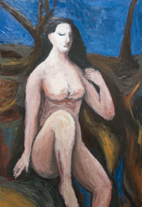 Woman in the Wilderness : classical style, female, woman, human figure, figurative, biblical, religious,outdoor, acrylic painting #6373, 2007 | Kazuya Akimoto Art Museum
