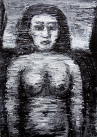 New, black and white, primitive, naive, female, woman, human figure, stout, female body, woman body, raw art, art brut, outsider art, figurative, black and white expressionism, black, monotone, monochrome, abstract woman body, acrylic painting #6467, 2007
