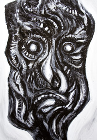 New, primitive, surreal, surrealism, distortion, distorted, male human face, black and white, dark, eerie, odd, strange,  symbolic, magic, sorcery, theme, acrylic painting #6498, 2007 | Kazuya Akimoto Art Museum