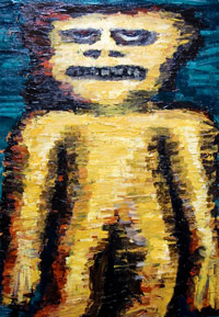 Yellow Dwarf : New, symbolic, raw art, art brut, primitive, human figure, figuratve, distortion painting, contemporary, modern, expressionism, raw symbolism, yellow, acrylic, odd creature painting #6524, 2007 | Kazuya Akimoto Art Museum