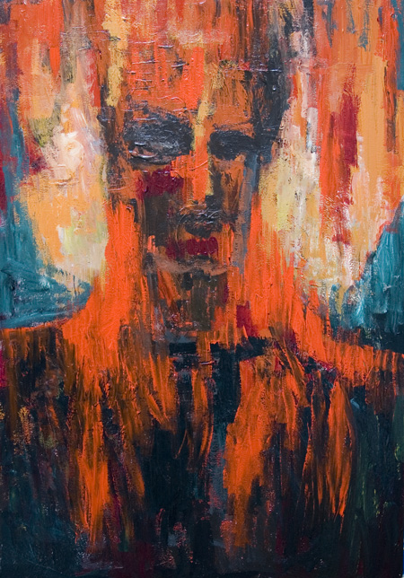 New, supernatural, abstract symbolic surreal human portrait impressionism, black and red, abstract human face, surrealism, strange, visionary, imagenary impressionism, abstract surrealism, symbolic human form expressionism painting #6536, 2007