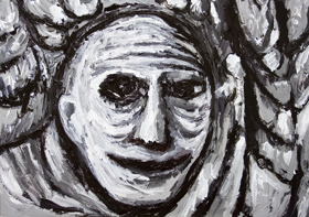 New,facial expression, raw art, art brut,painting, man's, male portrait, human, man's, face, black and white, thick line, monotone, expressionism, narrative, evocative, acrylic painting #6609, 2007 | Kazuya Akimoto Art Museum