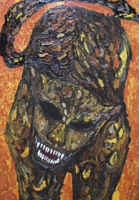 New, biblical,symbolism,surrealism, raw art, art brut, mosaic style, fierce, savage, sacry monster image, religious, acrylic, christianity, evil animal painting #6628, 2007 | Kazuya Akimoto Art Museum