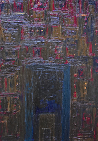 New, architectural, historical, abstract building, texture, matiere, impasto, theme, cityscape, acrylic dark painting #6649, 2007 | Kazuya Akimoto Art Museum