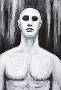 Evil Man : New, black and white, chiaroscuro, contemporary realism, realisme, man's portrait, figurative,classicism , neoclassicism, new realism, human figure, human body, neoclassical, acrylic painting #6654, 2007 | Kazuya Akimoto Art Museum