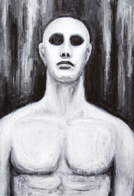 New, black and white, chiaroscuro, contemporary realism, realisme, man's portrait, figurative,classicism , neoclassicism, new realism, human figure, human body, neoclassical, acrylic painting #6654, 2007 | Kazuya Akimoto Art Museum