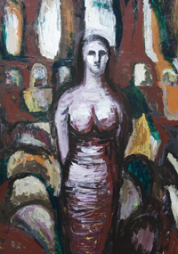 Prophetess : New, figurtaive abstraction, figurative, abstract, human figure, human form, woman, female portrait, acryolic painting #6683, 2007 | Kazuya Akimoto Art Museum
