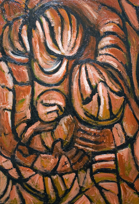 New, odd, strange, abstract, biblical, family theme, surrealism, religious, deforme, distortion, human figures, human forms, figurative, monotone, classical christianity theme, acrylic painting#6727, 2007 | Kazuya Akimoto Art Museum