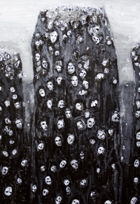 Soul Groups : New, religious, spiritual symbolism, surrealism strange sight, black and white, crowding human souls, floating human faces, acrylic painting #6776, 2007 | Kazuya Akimoto Art Museum