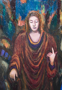 Jesus Christ : New, contemporary, christhianity theme, historic human figure, figurative, religious symbolism, biblical, colorful, acrylic, classical style portrait painting #6842, 2007 | Kazuya Akimoto Art Museum