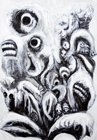 New,  black and white, detailed, animal and flower surrealism, transformation, metamorphosis, surreal realism, monsters, distortion, odd, strange unusual creatures, animal and botanical, animals and plants, surreal chiaroscuro acrylic painting #6866, 2007 | Kazuya Akimoto Art Museum