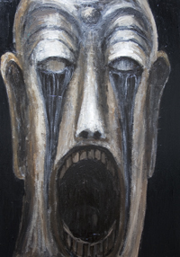 New, religious surrealism, religious symbolism, contemporary religious, screaming, crying, face painting,  distorted, distortion, human face, dark, odd, strange, eerie, uncanny, facial expression, acrylic, srureal, expressionism painting #6915, 2007 | Kazuya Akimoto Art Museum