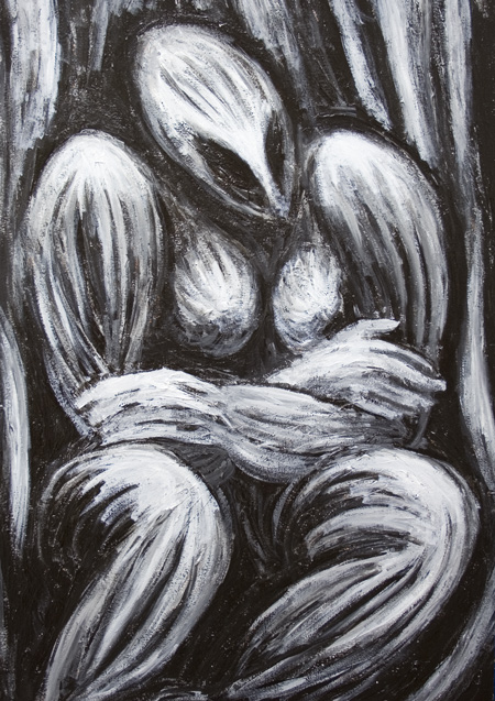 New black and white, dynamic, sculptural, abstract strong female body form, mythological, religious, archaeological, symbolism, woman, female, mother earth, great mother, abstract human figure, surrealism painting #7032, 2008 | Kazuya Akimoto Art Museum