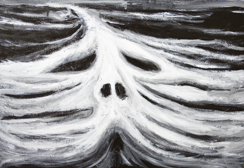 New biblical legendary sea monster, white mythological great sea monster at sea, darl winter seascape, face, head, facial symbolism, black and white surrealism acrylic painting #7046, 2008 | Kazuya Akimoto Art Museum