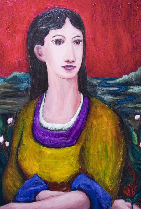 New, contemporary Japonisme, contemporary realism, woman, female human figure, portrait, classical style, acrylic painting #7070, 2008 | Kazuya Akimoto Art Museum