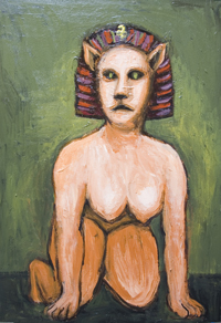 Living Sphinx : New, legendary creature, greek, egyptian mythological composite creature, surrealism, female, woman portrait, strange, odd, weird animal,animal symbolism, odd creature, human figure acrylic painting #7118, 2008| Kazuya Akimoto Art Museum