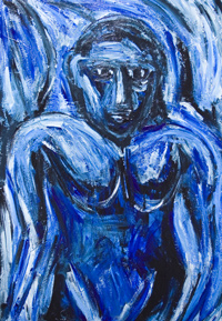 Blue Barbarous Woman : New, primitive woman painting, raw art, art brut, strong human form, human figure, strong, woman, female, portriat,  body form, cubism, expressionism, primitive, savage, barabarous, wild woman image, acrylic painting #7256, 2008 | Kazuya Akimoto Art Museum