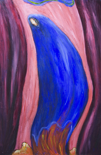 New, abstract contemporary religious expressionism painting, abstract Virgin, abstract Mary, distorted female, woman portrait, religious symbolism, abstract symbolism, complementary colors, color contrast, contemporary Christianity theme, traditional, classical theme, blue color symbolism, blue and red, acrylic painting #7300, 2008 | Kazuya Akimoto Art Museum