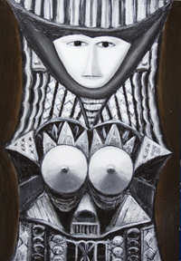 The Queen of the Night  : New, contemporary Japonisme, Japanese pop art, anime, manga style, literature, fairy tale, fable, surrealism woman portrait painting, black and white, monotone, pseudo-relief, 3d, decorative, ornamental, odd, strange, human, female figure, dark, night, raw art, symbolism, acrylic painting #7315, 2008 | Kazuya Akimoto Art Museum