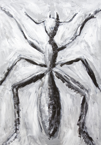 The Giant Cave Ant : New, abstract realism, black and white living thing painting, animal, insect symbolism, abstract ancient cave style realism, impromptu, improvised, rough brush strokes, abstract symbolism, acrylic painting # 7373, 2008 | Kazuya Akimoto Art Museum