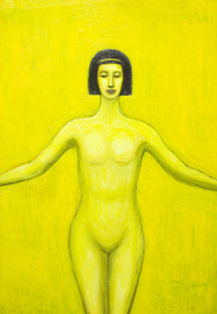 new mythological contemporary realism painting, yellow color symbolism, young girl symmetrical portrait with Egyptian bob haircut painting, human figure, female body symbolism, female body curves, body outlines, Egyptian, ancient symbolism, contemporary religious icon, Egyptian goddess Serket image, figurative acrylic painting # 7598, 2008 | Kazuya Akimoto Art Museum