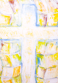 The Abstract True Cross ( Colorful Crucifixion ): New contemporary religious Christian abstract symbolism painting, abstract relics, abstract true cross, abstract Christianity symbols, contemporary religious iconography, biblical, gospel,  color symbolism abstract Jesus crucifixion painting #7675, 2008 | Kazuya Akimoto Art Museum