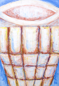 The Abstract Holy Grail : New Christian Relics, Last Supper theme abstract still life painting, contemporary religious holy chalice, goblet, grail art, abstract colorful relics, historical,religious abstract expressionism painting, abstract Christian symbolism, Christian literature theme, abstract symbolism, biblical, old testament, Christian legendary, mythological symbolism, contemporary Christianity theme acrylic painting #7684, 2008 | Kazuya Akimoto Art Museum