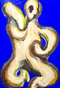 New abstract symbolism, abstract dance movement theme painting, abstract strange human figure, woman symbolism, female body form, abstract Hindu goddess dancing portrait, religious symbolism, cobalt blue theme, abstract raw art, ambiguous form, abstract impressionism portrait, acrylic painting #7732, 2008 | Kazuya Akimoto Art Museum