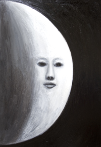 New, surreal realism, black and white human face surrealism, astronomical personification art, Moon symbolism painting, personified Moon, Moon personification,  surreal, darkness and light symbolism, abstract night symbolism, the face on the lunar surface scene, surreal facial expressions, acrylic painting # 7861, 2008 | Kazuya Akimoto Art Museum