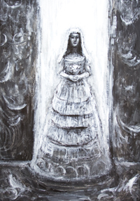Evil Bride : new, black and white, acrylic, dark surreal realism, bride in  white bridal dress portrait painting, eerie, scary, uncanny, dark expressionism, evil, human, female, woman portrait, black and white surrealism, dark symbolism painting #8096, 2008 | Kazuya Akimoto Art Museum