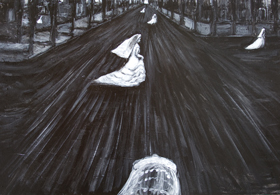 New, black and white, odd, strange, eerie, dark surreal streetscape scene, symbolic bridal figures, black and white wedding theme surrealism, surreal cityscape scene, female symbolism, acrylic painting #8122, 2008 | Kazuya Akimoto Art Museum