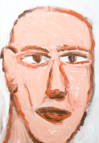 Villain with a scar on his face : new raw art, art brut portrait painting, new expressionism, male naive portrait, facial expression theme, human face, rough brush strokes, contemporary acrylic painting #8261, 2009 | Kazuya Akimoto Art Museum