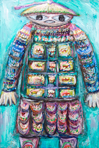 New, contemporary ballet music theme painting, Chinese, Asian, contemporary surreal raw art, strange outsider art, contemporary surreal narrative expressionism, colorful figurative painting, elaborate decorative detailed and rough fabric pattern, impasto texture surface pattern, abstract symbolic human figure, odd strange weird human form, abstract symbolism, Asian, Chinese, acrylic painting #8292, 2009 | Kazuya Akimoto Art Museum