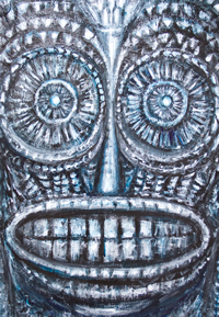 Mask of the Ancient God : new, black and white surrealism outsider art, art brut, mask symbolism, ancient, elaborate carving pattern, religious human face symbolism, detailed, abstract texture pattern, facial symbolism, acrylic painting, surreal raw art, acrylic painting #8308, 2009 | Kazuya Akimoto Art Museum