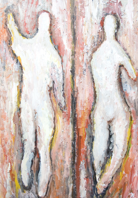 White Silhouettes of New Adam and Eve : New, biblical, Christian mythology theme painting, abstract texture, human body form portrait acrylic painting, abstract expressionism primitive human form, legendary man and woman theme, Hebrew, old testament,Genesis 1-2, love theme, abstract raw art, tachisme, abstract full-length portraits, acrylic painting #8421, 2009 | Kazuya Akimoto Art Museum