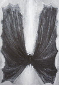 Black Bat : New, abstract dark animal symbolism acrylic painting, surreal realism painting, abstract realism, black and white animal, sacred, holy, religious animal symmetrical painting, black and white surrealism, shadow, silhouette, spiritual animal figure, bat symbolism, light symbolism, acrylic painting #8477, 2009 | Kazuya Akimoto Art Museum
