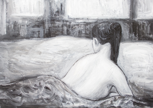 The Next Morning : new, black and white love affair theme, contemporary Japonism, contemporary realism, morning scene, lying woman, figurative, narrative human figure, daily life, man and woman love theme, acrylic painting #8542, 2009 | Kazuya Akimoto Art Museum
