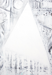 The Abstract White Face of Cleopatra : New, black and white geometric expressionism, abstract triangle symbolism, white color symbolism, abstract historic figure portrait painting #8675, 2009 | Kazuya Akimoto Art Museum