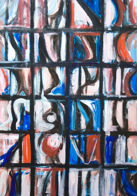Abstract 24 Christian Saints : abstract strained glass saint portrait image painting, religious symbolism, contemporary Christian art, abstract iconography, abstract human figures, cell pattern, geometric rectangle pattern