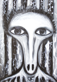 The Long Nose Fortune Teller: black and white, surreal portrait, distorted human face, acrylic painting #9120, 2010