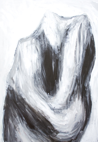 Cain and Abel :black and white old testament Christianity theme painting, contemporary abstract painting, abstract fight, abstract human figures, abstract bible, dark symbolism, abstract human body form painting #9206, 2010 | Kazuya Akimoto Art Museum