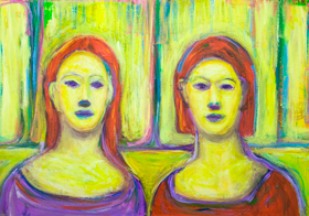 Complementary Yellow Twin Sisters : Complementary color pattern expressionism portrait painting, yellow color symbolism, abstract interior, colorful expressionism, contemporary impressionism, colorful realism, symmetrical portraits, abstract sister, abstract family, abstract realism, daily scene, acrylic painting #9322, 2010 | Kazuya Akimoto Art Museum